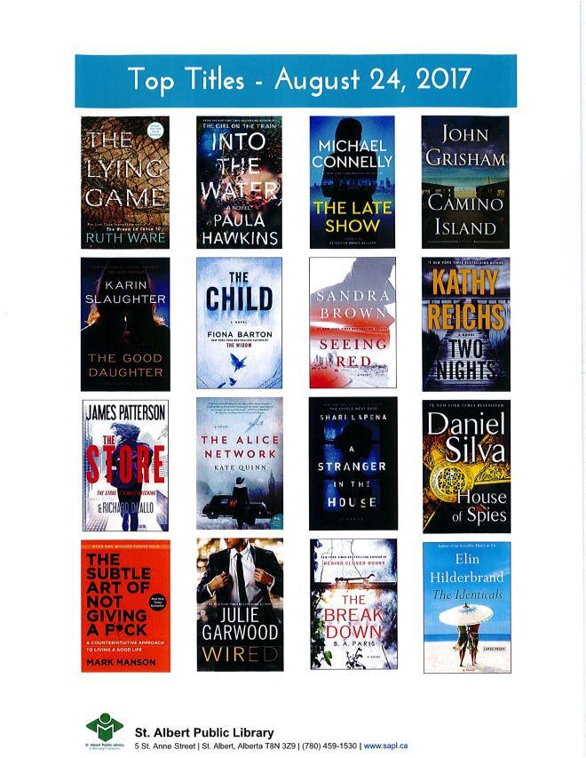 Bestsellers 08 24 2017