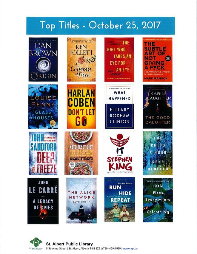 Bestsellers 10 25 2017